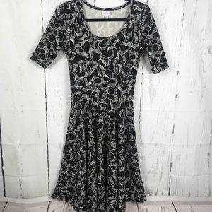 Lularoe Nicole Black birds dress size s
